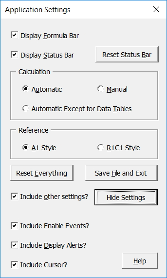 Application Settings – Daily Dose of Excel
